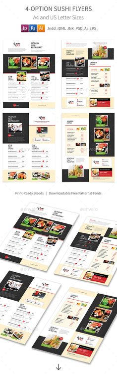 Sushi Menu Flyers 2 – 4 Options  #traditional • Available here → http://graphicriver.net/item/sushi-menu-flyers-2-4-options/15489988?ref=pxcr