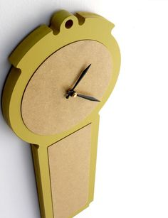 modern wall clock  simple chic  chartreuse pale grey by uncommon. , via Etsy.