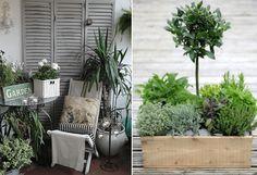 szare shuttersy na balkonie,metalowe dekoracje i meble ogrodowe,białe doniczki,rośliny i kwiaty w ozdobnych doniczkach i skrzynkach na balkonie,szara podloga z desek na balkonie,kute meble na balkon i na taras,maly taras,szaro-biała aranżacja bal - Lovingit.pl