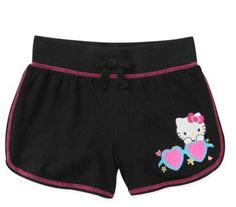 Hello Kitty Girls' Jersey Shorts Size 10/12 in Black for Summer NWT #HelloKitty #Everyday