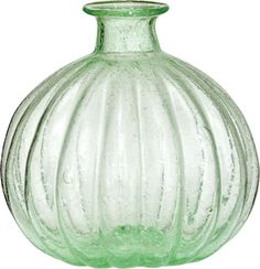 Approximately inch diameter by inches high. Hand blown and made of recycled glass, these vessels are not only beautiful to the eye but kind to the environment. Glass Vases Wholesale, Pumpkin Vase, Glass Pumpkins, Green Home Decor, Bottles And Jars, Bottle Vase, Glass Bottle, Art Of Glass, Green Vase
