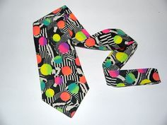 Vintage Mens NEON tie / necktie / dayglo abstract / op art geometric ombre / new wave hipster hip hopquot; 80s Fashion, Vintage Fashion, 80s Neon, Op Art, The Wedding Singer, New Wave, Vintage Men, Vintage Style, Hipsters