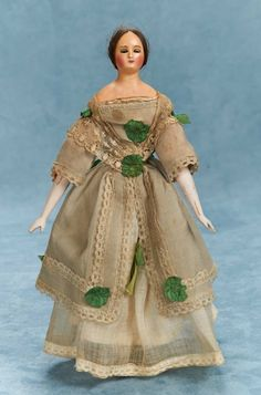 German Wax Doll with Wire-Lever Eyes,Wooden Body and Original Costume, circa 1840