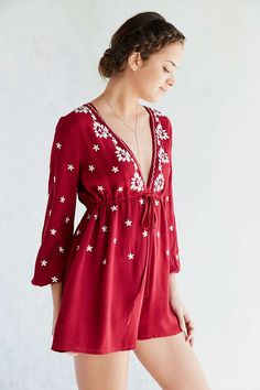 Ecote Embroidered Tie-Waist Romper - Urban Outfitters