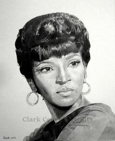 "Nichelle Nichols, pencil drawing. Played Lieutenant Uhura on the 1960's TV show ""Star Trek."""