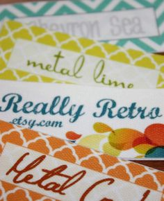 These are my favorite labels for my items - 120 Custom Printed Fabric Labels Sew on or Iron on - JennifersJewels on etsy