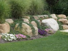 Landscaping with rocks ideas boulder retaining wall garden design rocks ideas Landscaping With Large Rocks, Landscaping With Boulders, Large Backyard Landscaping, Landscaping Tips, Landscaping Software, Backyard Ideas, Desert Backyard, Acreage Landscaping, Landscaping Melbourne