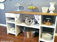 diy, desk, repurpose, buffet, upcycle, sideboard, dining room, kitchen