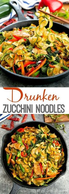 A light, low-carb version of the popular Thai dish. Drunken Zucchini Noodles Drunken Zucchini Noodles is a light, low-carb version of the popular Thai dish that uses noodles instead of rice. Zoodle Recipes, Spiralizer Recipes, Veggie Recipes, Asian Recipes, Low Carb Recipes, Diet Recipes, Vegetarian Recipes, Chicken Recipes, Cooking Recipes