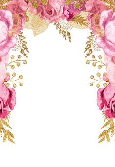 Pink and gold roses - Quinceañera Invitation Template (free)