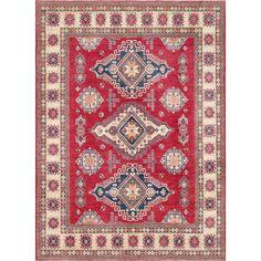 Pasargad Caucasian Kazak Hand-knotted Rust (Red)/ Ivory Wool Geometric Rug (10' x 14') (10x14), Size 10' x 14'