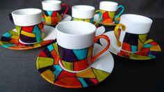 service en porcelaine de 6 tasses peint à la main d'un motif carnaval - 60€