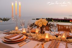 Stunning dinner set-up over looking the Sea of Cortez in Puerto Los Cabos! Flowers by Cabo Floral Studio!