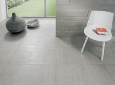 Cement look large format tiles - get this look at Suregrip Ceramics.