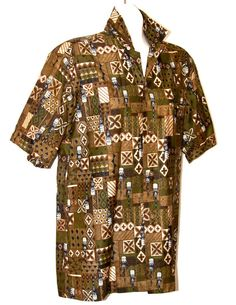 50's Hawaiian Aloha Shirt with Tiki Pattern Asian by DeNovoGents, $24.00