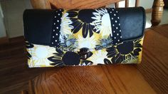 Beautiful Black, Yellow, White NCW, Wallet, 12 CC holders, zippered pouch, black leather by MyCreativeBranch on Etsy