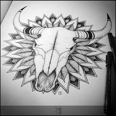 Buffalo skull and vegetal mandala (2015) by KanchArt.deviantart.com on @DeviantArt
