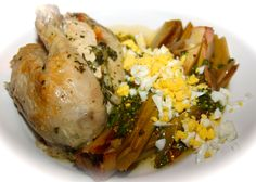 Clay roasted herbed chicken with leeks vinagrette    http://www.westchesterfoodie.com/anatomy-of-a-disaster-clay-roasted-herb-chicken-leeks-vinaigrette/#