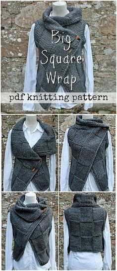 Knitting PATTERN-Big square wrap, womens sleeveless jacket pattern, cardigan pattern from 	 laurimukspatterns #etsy #ad #laurimukspatterns