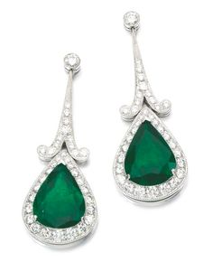 Earrings ~ Each of set with a pear-shaped emerald and brilliant-cut diamonds, post and butterfly fittings.