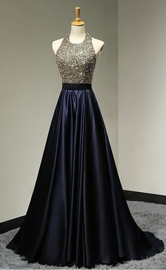 Floor Length Halter Neckline Open Back Dark Navy