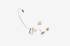 Materials: 14karat gold / Size: stud - length 4mm, width 10mm  cuff - length 63mm, width 7.8  cubic-  length 3mm, width 9