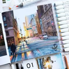 Sunset in New York. Architectural Drawings with Urban Sketches, come and see the video. By Katerina Kurtakova.