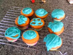 Classic vanilla cupcakes with cool blue icing, recipe from the Edmonds Cookbook.