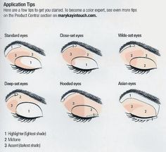 I can help with all your color application no mater what shape eye you have. Contact me!!!!!! www.marykay.com/bobbiesue