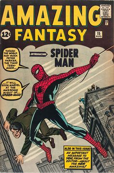 Amazing Fantasy Spiderman Poster Vintage Comic Book Poster enlarged & framed giclee print that will never fade with beautiful vibrant colors. Available in various sizes unframed or framed in classic flat matte black wood frame. Great gift for your favorite superhero fan! Vintage Superhero Comic Book Poster Framed Wall Art, printed & framed in USA by Museum Outlets.