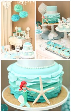 little mermaid birthday party. love the ruffled ombre cake!