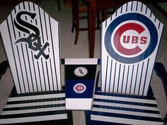 This is what you get when a CUBS Fan marries someone who roots for that other Chicago team ! White Adirondack Chairs, Cubs Fan, Major League, Chicago Cubs Logo, Baby Items, Roots, Porch, Woodworking, Baseball