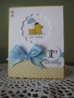 Stampin' Up Handmade Greeting Card Baby Boy's by ConroysCorner First Birthday Cards, Baby First Birthday, Handmade Birthday Cards, Birthday Greeting Cards, Greeting Cards Handmade, Boy Cards, Kids Cards, Cute Cards, Kids Stamps