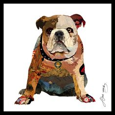 Choose this bulldog reverse-print colorful glass wall art to bring a fun vibe to any space. Minimally framed glass wall art from the Reverse Printed Art Glass Collection. Paper Collage Art, Collage Frames, Black Framed Wall Art, Empire, British Bulldog, Decorating With Pictures, Glass Wall Art, Kare Design, Animal Drawings