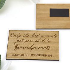 Personalised Engraved Wooden Magnet Grandparent Pregnancy Baby Announcement Rough Day, Secret Santa Gifts, Wine Gifts, Groomsman Gifts, Peace Of Mind, Grandparents, Laser Engraving, New Baby Products, Magnets