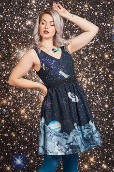 Explore and all-star lineup of star, galaxy, planetary, and cats in space print dresses you'll love to the moon & back.