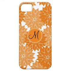 Personalized Monogram Orange Flower Blossoms iPhone 5 Covers