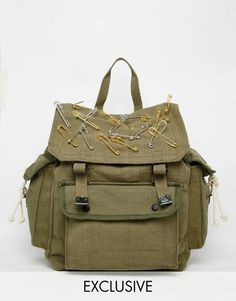 Image 1 ofReclaimed Vintage Military Backpack With Safety Pins