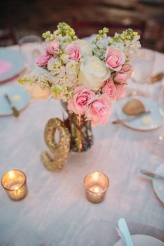 Gold Glitter Table Numbers   photography by http://kellysauer.com/