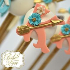 Close-up of our boho chic themed cake pops for this weekend's baby shower for…