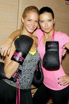 Glitter boxing gloves! Victoria's Secret Angels go kickboxing. I love these!