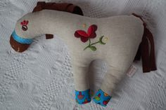 Walnut - hand embroidered horse softy I decorated him with a folk motif from Sióagárd, Hungary.
