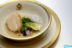 Sheldon Simeon's Pan-Roasted Rockfish, Spot Prawns, Baby Vegetables & Dashi