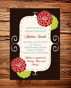 Gorgeous Frame and Flowers Wedding Shower Invitation, Bridal shower invite, Green and Red Flowers Wedding Shower Invite,  digital, printable. $20.00, via Etsy.