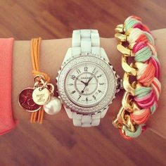 arm candy bracelets and watches Jewelry Accessories, Fashion Accessories, Fashion Jewelry, Nail Fashion, Chanel Watch, Chanel J12, Arm Candy Bracelets, Bangles, Bijoux Diy