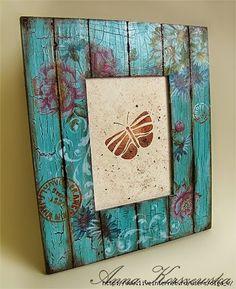 ramka decha2 (434x533, 218KB) Origami Butterfly, Diy Frame, Vintage Wood, Painting On Wood, Mixed Media Art, Altered Art, Painted Rocks, New Art, Art Nouveau