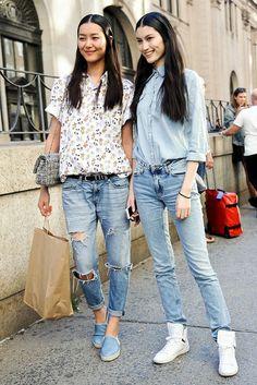 #LiuWen & #MingXi rocking denim #offduty in Paris.