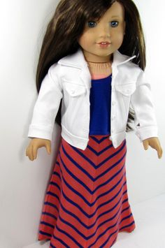 American Girl Doll White Denim Jacket