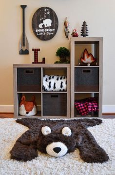 Nursery Rug / Bear Rug / woodland nursery / Baby room by ClaraLoo