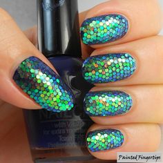 Mermaid Glitter Placement Nails | Painted Fingertips